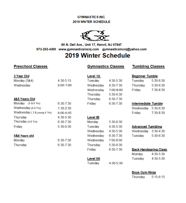 2019winter gym inc schedule